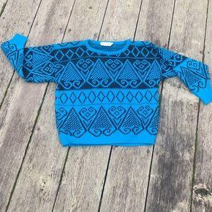 Vintage Sweaters - Vintage Bright Blue Patterned Sweater